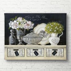 Tablouri Canvas, Vaze cu flori pe un sertar alb