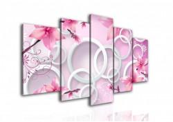 Multicanvas, Flori abstracte de culoare roz.