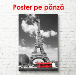 Poster, Autobuz roșu în Paris alb-negru