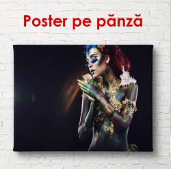 Poster, Fată strălucitoare pe un fundal negru