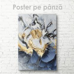 Poster, Floare abstractă cu elemente aurii