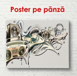 Poster, Perete abstract cu instrumente muzicale
