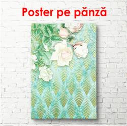 Poster, Trandafiri albi pe un fundal auriu