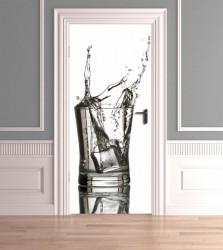 Stickere 3D pentru uși, Apă și cuburi de gheață, 1 foaie de 80 x 200 cm