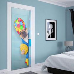 Stickere 3D pentru uși, Câine relaxat, 1 foaie de 80 x 200 cm