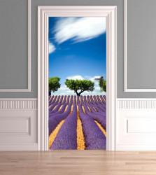 Stickere 3D pentru uși, Câmpia cu lavandă, 1 foaie de 80 x 200 cm
