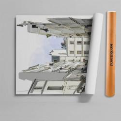 Stickere 3D pentru uși, Cartierul liniștit, 1 foaie de 80 x 200 cm
