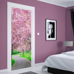 Stickere 3D pentru uși, Parcul cu flori roz, 1 foaie de 80 x 200 cm