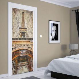 Stickere 3D pentru uși, Parisul în culori frumoase, 1 foaie de 80 x 200 cm