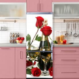 Stickere 3D pentru uși, Trandafiri și șampanie, 1 foaie de 80 x 200 cm