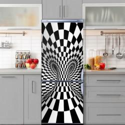 Stickere 3D pentru uși, Tunelul alb-negru, 1 foaie de 80 x 200 cm
