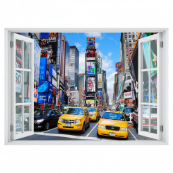 Stickere pentru pereți, Fereastra 3D cu vedere spre New York-ul aglomerat