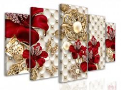 Tablou modular, Flori roșii cu elemente de broșă