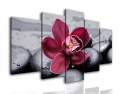 Tablou modular, Orhidee bordo pe o piatră neagră