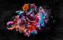 Tablou modular, Trandafir abstract pe fundal negru