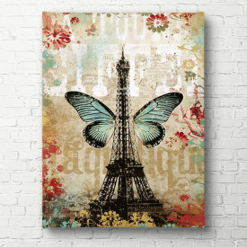 Tablouri Canvas, Turnul Eiffel cu fluture albastru pe fundal gri