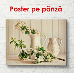 Poster, Flori în vază în culori bej