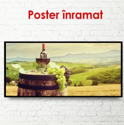 Poster, Sticlă de vin cu struguri pe un butoi