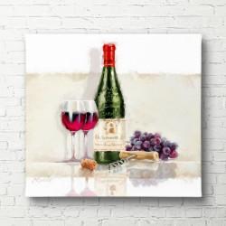 Poster, Sticla de vin cu un pahar pe masa
