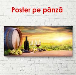 Poster, Sticlă de vin la apusul soarelui