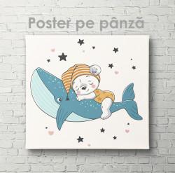 Poster, Ursuleț drăguț de pluș pe balenă