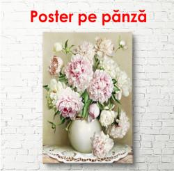 Poster, Vaza albă cu bujori roz