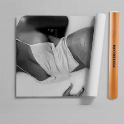 Stickere 3D pentru uși, Femeia alb-negru, 1 foaie de 80 x 200 cm