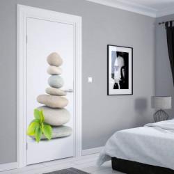 Stickere 3D pentru uși, Pietre și frunze, 1 foaie de 80 x 200 cm