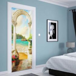 Stickere 3D pentru uși, Plaja la răsărit de soare, 1 foaie de 80 x 200 cm