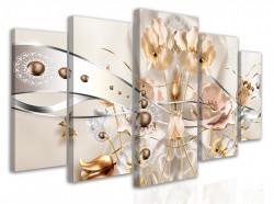 Tablou modular, Flori gingașe cu elemente aurii