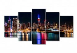 Tablou modular, Oraș nocturn în reflexia apei