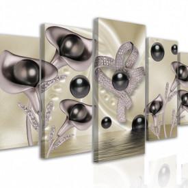Tablou modular, Perle negre în culori prețioase