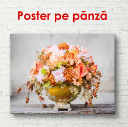 Poster, Buchet de flori în vază metalică