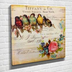 Poster, Păsări multicolore pe o ramură
