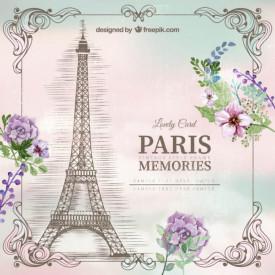 Poster, Turnul Eiffel pe un fundal delicat