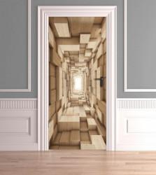 Stickere 3D pentru uși, Cuburi din lemn, 1 foaie de 80 x 200 cm