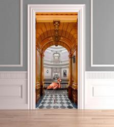 Stickere 3D pentru uși, Flamingo în muzeu , 1 foaie de 80 x 200 cm
