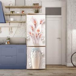 Stickerele decorative, pentru uși, Flori roz într-un ulcior, 1 foaie de 80 x 200 cm