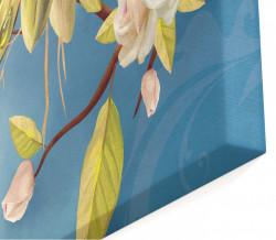 Tablou modular, Flori albe pe fundal albastru.