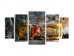 Multicanvas, Caracatița într-o mașină retro galbenă de perete