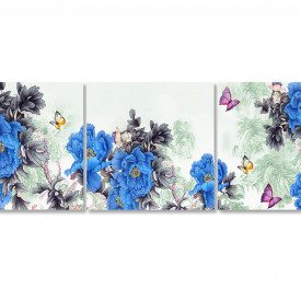 Multicanvas, Flori albastre pe un fundal cenușiu abstract