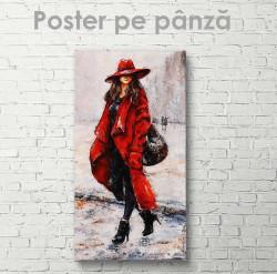 Poster, Fată în palton roșu