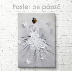 Poster, Fată în rochie albă cu flori și fluturi
