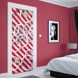Stickere 3D pentru uși, Flori pe fundal în dungi, 1 foaie de 80 x 200 cm