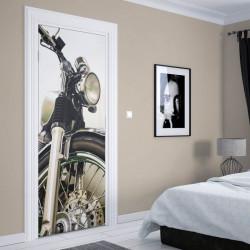 Stickere 3D pentru uși, Motocicleta neagră, 1 foaie de 80 x 200 cm