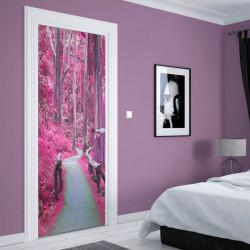 Stickere 3D pentru uși, Pădurea roz, 1 foaie de 80 x 200 cm