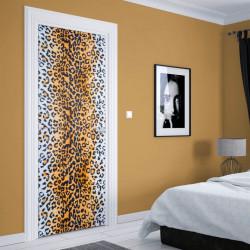 Stickere 3D pentru uși, Print de leopard, 1 foaie de 80 x 200 cm