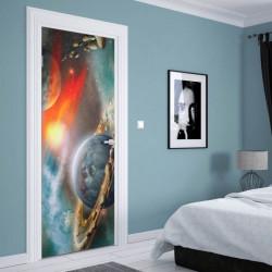 Stickere 3D pentru uși, Saturn în culori închise, 1 foaie de 80 x 200 cm
