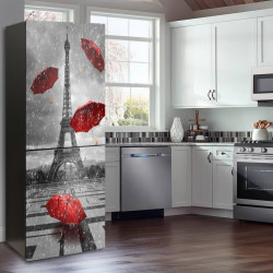 Stickere 3D pentru uși, Umbrele roșii, 1 foaie de 80 x 200 cm