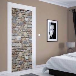Stickere 3D pentru uși, Zidul din pietre, 1 foaie de 80 x 200 cm
